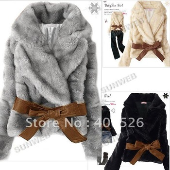 Hot Sale Korea Fashion Faux Fur Rabbit Hair Lady Short Warm Coat Jacket Fluffy Outwear with Belted Black, Gray, Apricot 3376