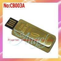 Wholesale Gold Bar USB Flash Drive 4G 8G 16G 32GB 64GB  High Speed USB 2.0 Flash Memory 1 year warranty+Free shipping #CB003A