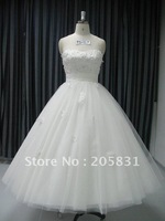 Strapless Floor length A-line Organza White Beading Wedding Dress YU20121