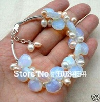 Wholesale Cheap Lovely Fresh Water Pearl Opal Cluster Bracelets / 2 styles choose/ Free Shipping