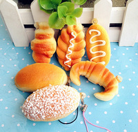 5pcs Wholesale Mini Bread Squishy Cell Phone Charm Free Shipping