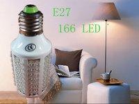 Free Shipping Wholesale 8W Warm White E27 166 LED Corn Light Home Energy Save Lamp Bulb AC110V/AC220V