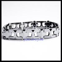 Tungsten Cross Black MAGNETIC & Tungsten Carbide Lady Mens Bracelet Bangle Gift