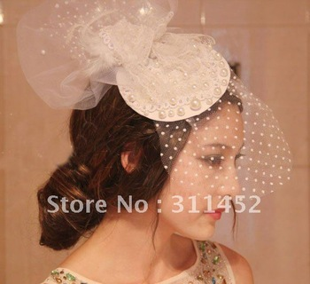 white pearl lace hair accessory,fashion fascinator,bride veil accessory,Sinamay hat