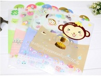 100pcs/lot Wholesale Cute Cartoon Design A4 Files Folder Rilakkuma test paper documents Bag Folder waterproof Gift Free shipping