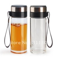 350ml Fuguang single wall glass water bottle ,glass cup with filter,round.