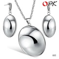 OPK JEWELRY NEW ARRIVAL Fashion Jewelry Set Lovely Stainless Steel Earring &amp; Pendants Necklace Drop Earrings Free Shipping 665