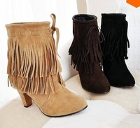 Big size US 34-43  winter New Arrived Pointed Toe high heels Slip-On Tassel Faux suede boots pumps shoes    tassels boots 8159
