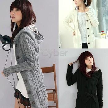 Winter Fashion Women's Cardigan Sweater Long Sleeve Hoodie coat trench Black/White/Gray +