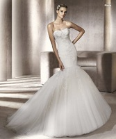 Free Shipping 2012 Custom Made A-Line Strapless Lace Perspective Chapel Train Bridal Gowns Wedding Dress Glamour13