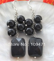 Beautiful 8-18mm black onyx earring-925 silver hook