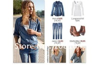 Free shipping, Washed cotton, denim shirt, denim shirt, Loose coat, tycoon(080)