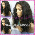18inch body curl #1B color 100% Indian remy hair stock  lace front  wigs  Free Shipping