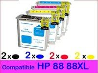 8 pcs New Compatible ink cartridge for HP Officejet Pro Printer K550 K5400 K8600 L7580 88/88XL