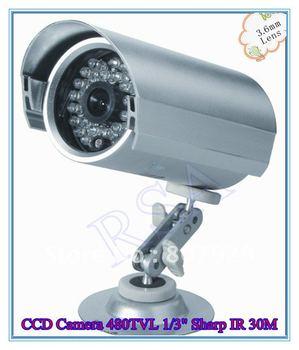 Security Waterproof CCD Camera 480TVL 1/3 Sharp color CCD,IR Distance 30M 3.6mm-6mm Lens Optional,24pcs IR-LED