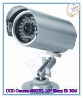 Security Waterproof CCD Camera 480TVL 1/3 Sharp color CCD,IR Distance 30M 3.6mm-6mm Lens Optional,24pcs IR-LED