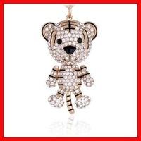 high quality metallic rhinestone & crystal tiger keychain