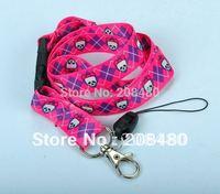 "Wholesale ""Ribbon Skull"" Lanyard Keychain Necklace Cell Phone Holder ID Badge Holder Keys ID Neck Straps 12pcs/lot Free shipping"