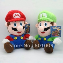"Free Shipping EMS 2pcs Sitting MARIO LUIGI 8"" MARIO PLUSH Wholesale(China (Mainland))"