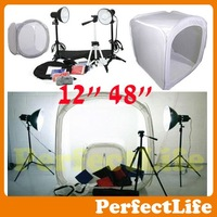 "Photo Studio Light Tent Kit in 12"" 48"" Shooting Tent Box,2 light stands,1 Tripod,3 x 40 w powered lamps A042AZ005"