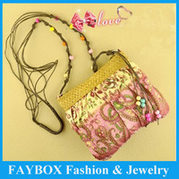 Lovely Vintage candy colors Small Bohemia women messenger shoulder straw bag beach handbag!
