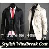 2012 Men's Stylish Double Breasted Long Trench Coat Jacket Windbreak free shopping 3386(China (Mainland))