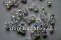 Free Shipping! Wholesale Top Quality 4mm Crystal 5301 bicone Beads Half Clear White AB colour 1440pcs
