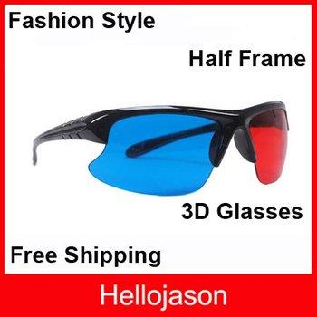7210  Half Frame Lens Red Blue Cyan 3D Glasses Stylish Reuseable Plastic Frame 300pcs/lot