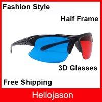 Free Shipping Half Frame Lens Red Blue Cyan 3D Glasses Stylish Reuseable Plastic Frame 300pcs/lot