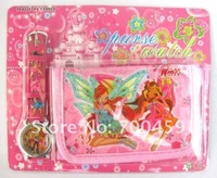 Cute 40 sets winx club Watches wristwatches with XMAS Gift + Purses Wallets