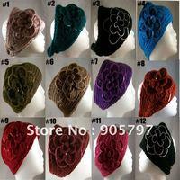 DHL Free Shipping 2011 Newest hot sale Handmade knit headdress Flower headwrap FLOWER EAR WARMER HEAD BAND NECK WRAP SEQUINS