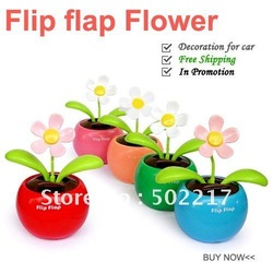$15 off per $150 order Free Drop shipping Dancing Flower Solar Light Flip Flap Solar Flower For Car/Home Solar Toys 50PCS/LOT(China (Mainland))