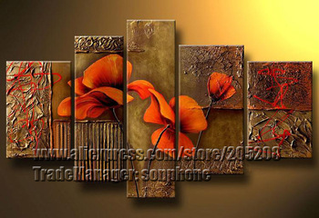 Framed 5 Panel Large Texture Poppy Oil Painting Flower Wall Canvas Art Picture XD00092