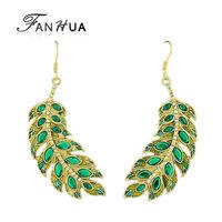 Latest style hot sale elegant shiny green leaf rhinestone design gold color alloy long drop earrings for women