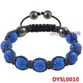 Min Order $10 Fashion Jewelry Gift Shamballa Bracelet For Women Crystal Pave Beads Woven Bracelets Blue Free Shipping DYSL0010