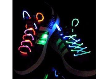 Creative Dazzle Colour LED Platube Laces New Shoe-Lace Magically Lighting the Night/Orange/Blue + Free Shipping + 10 pcs/lot