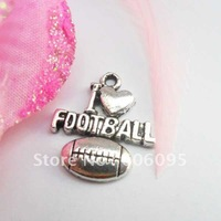 Free shipping retail tibetan silver Antique silver plated football charms CPL40152  20x18mm  50pcs/lot