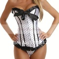 Free Ship Popular Style white Burlesque Polka Dot Corset lace up bustier Basque Lingerie strapless corsets HOT