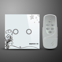 Free shipping wireless remote control 2 Gang wall touch switch&glass panel design