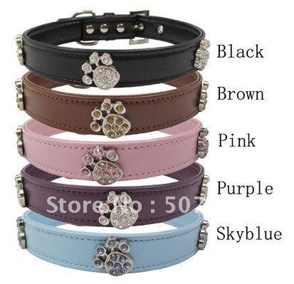 Leather Rhinestones Paw Blank Dog Collar(China (Mainland))