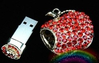 Wholesale! Best gift romantic Jewelry necklace USB Flash memory  (pink,silvery,blue,green,red)
