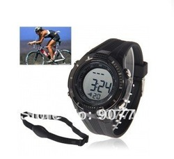 Free shipping Stylish Heart Rate Monitors Sport Watch for Healthy Living - Black(China (Mainland))