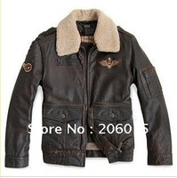 The new U.S. Air Force pilots retro style wool coat collar men's leather jacket leather machine wagon