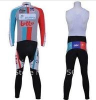 Free  2011 Lotto Best Sell High Quality Winter Fleece/Thermal Cycling Jersey+ Bib Pants Set/Cycling Wear/Bike Jersey