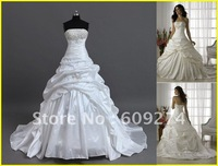 Free Shipping 2012 Cheap Hot Sale Strapless Backless Taffeta Applique Ball gown Wedding Dress Dresses Bridal Gown