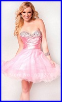 Factory Price 2012 Hot Strapless Backless Organza Beads Sexy Mini A line Pink Homecoming Dresses Prom Dress