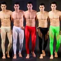 WJ Wang Jiang Sexy Men's Long Johns Smooth Mesh Half See-thru Underwear Pants  5 Colors