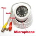 "1/4"" 420 TVL CMOS Security Surveillance Color Dome CCTV Camera Indoor with audio MICROPHONE 24 IR Leds D/N"