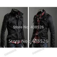Casual outwear Men's Jacket Zip Coat Jacket M, L, XL, XXL Dark Gray, Black, Army Green free shipping 3393