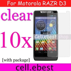 screen protector For Motorola RAZR D3,10pcs/lot lcd film guard,free shipping(China (Mainland))